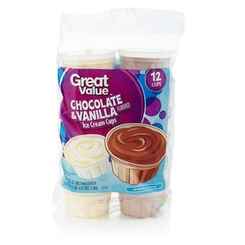 Great Value Chocolate And Vanilla Ice Cream Cups, 36 oz