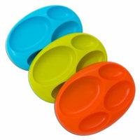 Boon Platter Edgeless Nonskid Divided Plate - Asst, Blue /Orange/Green, 3 ea