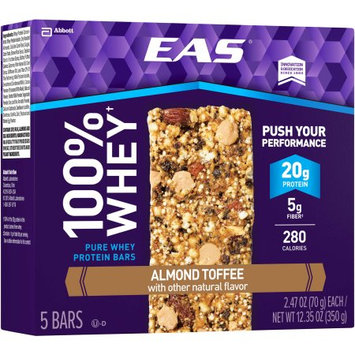 EAS 100% Whey Almond Toffee Pure Whey Protein Bars, 2.47 oz, 5 count, (Pack of 6)