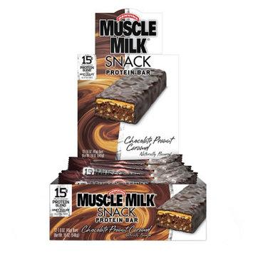 CytoSport Muscle Milk Snack Protein Bars, Chocolate Peanut Caramel, 12 ea