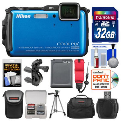 Nikon Coolpix AW120 Shock & Waterproof Wi-Fi GPS Digital Camera (Blue) with 32GB Card + Cases + Battery + Tripod + Strap + Handlebar & Helmet Mount Kit