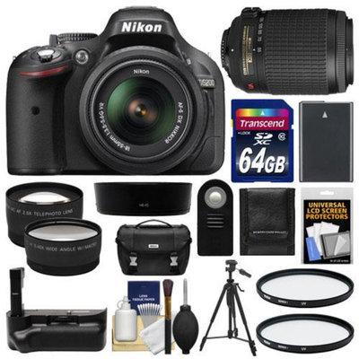 Nikon D5200 Digital SLR Camera & 18-55mm G VR DX AF-S Zoom Lens (Black) with 55-200mm VR Lens + 64GB Card + Case + Grip & Battery + Tripod + Tele/Wide Lenses + Filters Kit