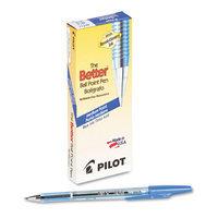 Pilot Better Ballpoint Stick Pen, Blue Ink, Medium, Dozen