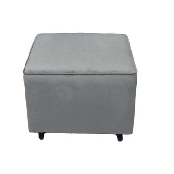 Fun Furnishings Comfy Cozy Ottoman - Grey Velvet