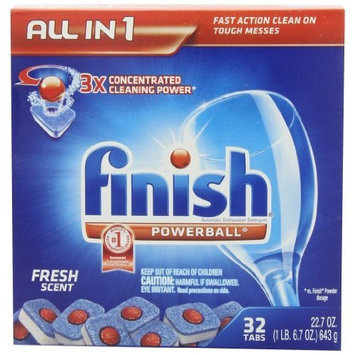 Finish Powerball Tab Automatic Dishwasher Detergent, Fresh Scent, 32 Tabs, 3 Count