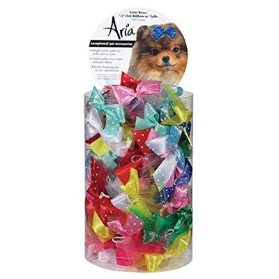 Aria Satin Acecate Dog Bows Canister, Ribbon with Tulle, 100-Pack