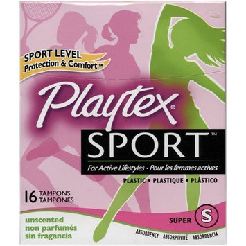 Playtex Sport Tampons, Unscented, Super Absorbency, 16 Tampons