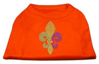 Mirage Pet Products 52-86 MDOR Mardi Gras Fleur De Lis Rhinestone Dog Shirt Orange Med - 12