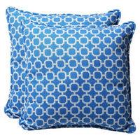 Pillow Perfect Outdoor 2-Piece Square Toss Pillow Set - Blue/White Geometric 18