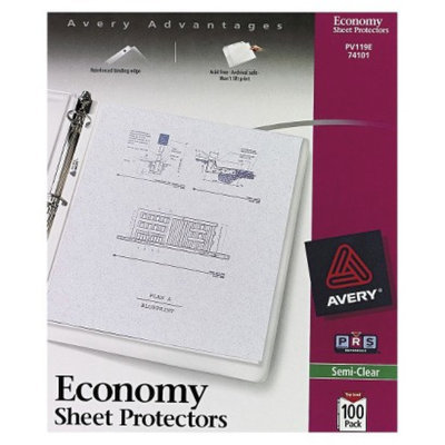 Avery Top-Load Poly Sheet Protectors, Economy Gauge, Letter - Semi-