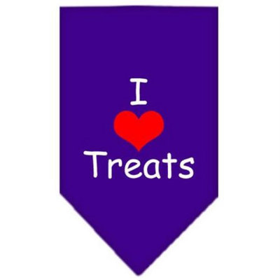 Ahi I Heart Treats Screen Print Bandana Purple Large