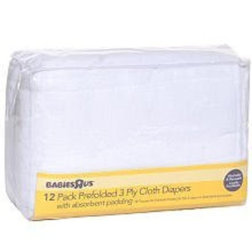Babies 'R' Us Babies R Us 12- Pack Prefolded 3 Ply Cloth Diapers