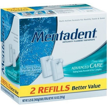 Mentadent Anticavity Fluoride Toothpaste Advanced Care, Clean Mint, 5.25-Ounce Refills in 2-Count Boxes (Pack of 3)