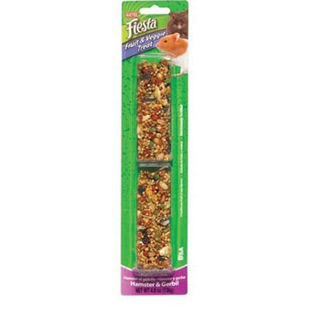 Kaytee Pet Products SKT100502611 Fiesta Fruit and Veggie Hamster and Gerbil Treat Stick, 4.8-Ounce
