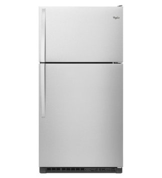 Whirlpool WRT311FZDM Top-Freezer Refrigerator with 20.5 Cu. Ft. Capacity 3 Framless Glass Shelves 2 Humidity-Controlled Crispers 3 Adjustable Gallon Door Bins and LED