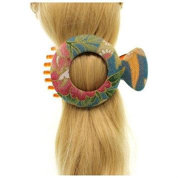 Annie Loto Studios Jewelry Teal Medium Circle Kimono Clip Hair Accessory Style, 1.75 in. - 310A