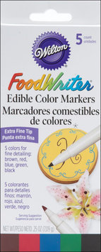 Wilton 489754 Extra-Fine Foodwriter Markers 5-Pkg-Yellow-Green-Red-Blue-Black