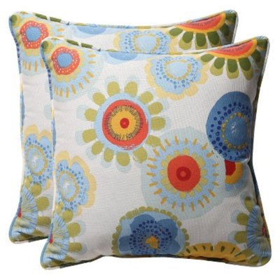Pillow Perfect Outdoor 2-Piece Square Toss Pillow Set - Blue/White/Yellow Floral 18
