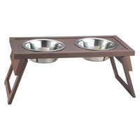 New Age Pet Habitat N Home HiLo Adjustable Double Diner Bowl - Russet