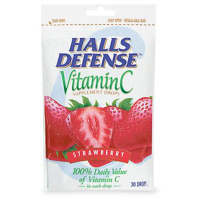 HALLS Defense Strawberry Vitamin C Supplement Drops