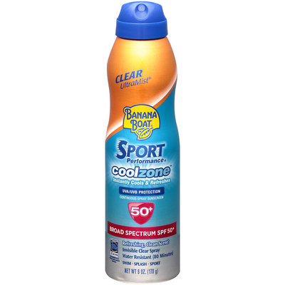 Banana Boat Sport Performance Clear UltraMist Coolzone Sunscreen Spray With SPF 50+