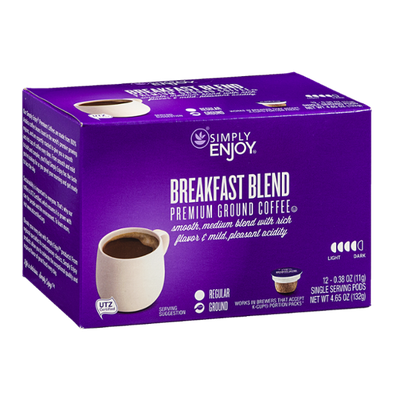 Simply Enjoy Premium Ground Coffee Pods Breakfast Blend - 12 CT