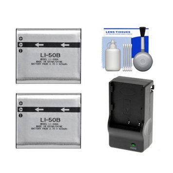 (2) Power2000 LI-50B Rechargeable Batteries with Charger + Cleaning Kit for Olympus SP-800, SZ-10, SZ-20, SZ-30MR, XZ-1, TOUGH 6020, 8010, TG-610 & TG-810 Digital Camera