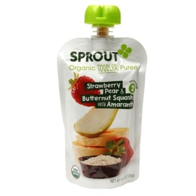 Sprout Toddler Pouch, Strawberry, Pear & Butternut with Amaranth, 4.22 oz
