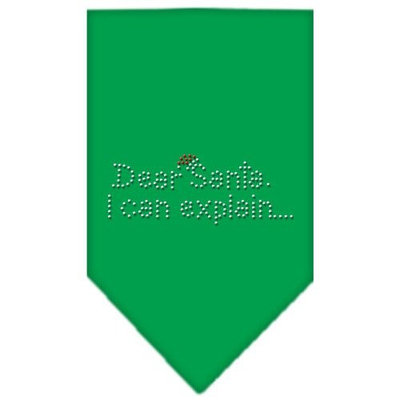 Mirage Pet Products 67-25-07 LGEG Dear Santa Rhinestone Bandana Emerald Green Large