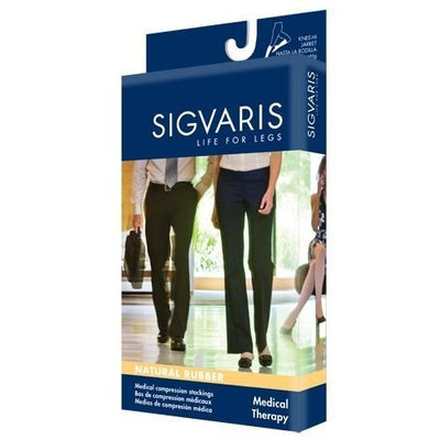 Sigvaris 504WM40/L Natural Rubber 40-50 mmHg Open Toe Unisex Thigh High Sock with Waist Attachment Size: M4, Leg: Left
