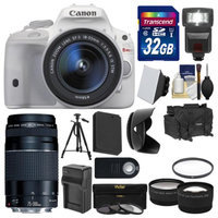 Canon EOS Rebel SL1 Digital SLR Camera & EF-S 18-55mm IS STM Lens (White) with 75-300mm III Lens + 32GB Card + Case + Flash + Battery/Charger + Tripod + 2 Lens Kit