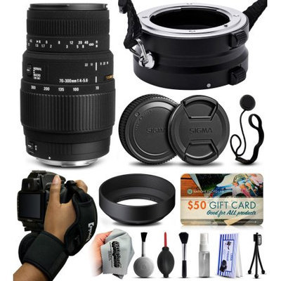 47th Street Photo Sigma 70-300mm F4-5.6 DG Macro Lens for Nikon (5A9306) with Exclusive Dual Lens Holder/Flipper + Wrist Strap + Cap Keeper + Deluxe Lens Cleaning Kit + $50 Gift Card for Prints