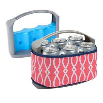 Occasionally Made Six Pack Can Cooler with Cover Coral