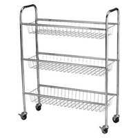 Household Essentials 3 Basket Storage Cart - Silver