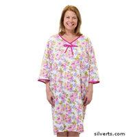 Silvert's Silverts 260000202 Soft Cotton Knit Pattern - Womens Open Back Snap Adaptive Hospital Night Gown Mauve Flower - Medium