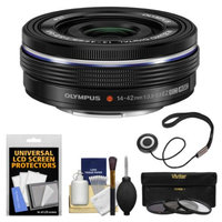 Olympus M.Zuiko 14-42mm f/3.5-5.6 EZ Digital Zoom Lens (Black) with 3 UV/CPL/ND8 Filters + Accessory Kit