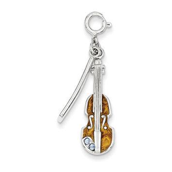 Sears Expired goldia Sterling Silver Enameled Preciosa Crystal Violin Charm