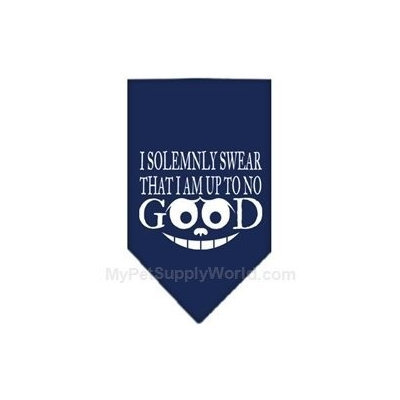 Mirage Pet Products 66-122 SMNB Up to No Good Screen Print Bandana Navy Blue Small