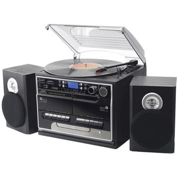Pyle Home Pttcsm70bt 3-Speed Turntable with CD and MP3 Player, Radio and Bluetooth