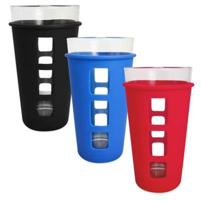 Ecovessel Eco Vessel Vibe Pint Glass with Protective Silicone Sleeve, Red, 16 oz