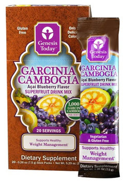 Genesis Today Garcinia Cambogia Superfruit Drink Mix Acai Blueberry 20 Stick Packs