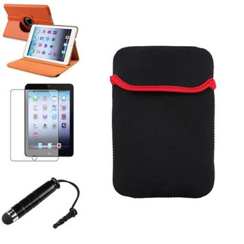 Insten iPad Mini 3/2/1 Case, by INSTEN Orange 360 Rotating Leather Case Cover+Pen/SP for iPad Mini 3 2 1