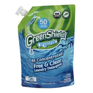 Greenshield Organic, Usda Organic Free and Clear Liquid Laundry Detergent, 38-Ounces (Pack of 6)