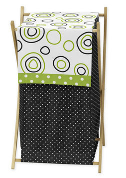 Sweet Jojo Designs Spirodot Laundry Hamper in Lime and Black