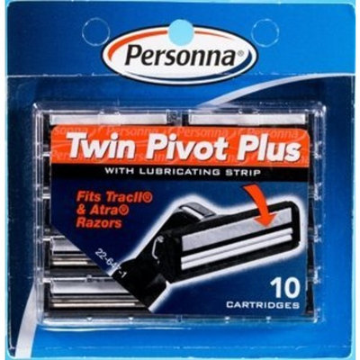 50 Personna TWIN PIVOT Plus Cartridges with Lubricating Strip for Gillette Atra & Trac II Razors - 5 Packs of 10 Blades