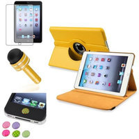 Insten iPad Mini 3/2/1 Case, by INSTEN Yellow 360 Stand Leather Case Cover+Matte SP for iPad Mini 3 2 1