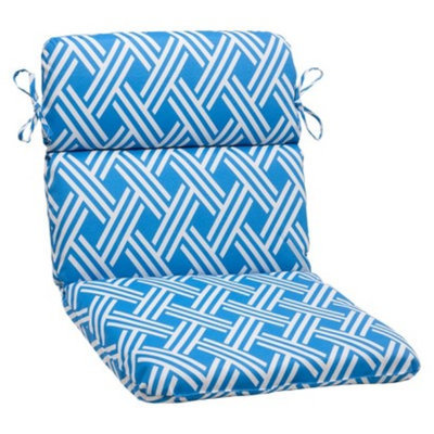 Pillow Perfect Outdoor Rounded Chair Cushion - Blue/White Geometric