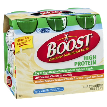 Boost High Protein Complete Nutritional Drink Very Vanilla - 6 PK