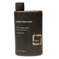 Every Man Jack 2-in-1 Body Wash and Facial Cleanser, Sandalwood, 13.5 fl oz
