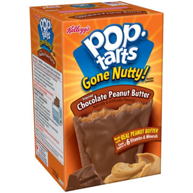 Kellogg's Pop-Tarts Gone Nutty Toaster Pastries Frosted Chocolate Peanut Butter